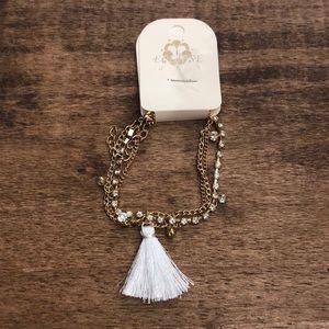 Layered Rhinestone and Tassel Bracelet